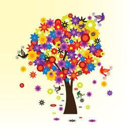 Colorful Blooming Tree with Birds