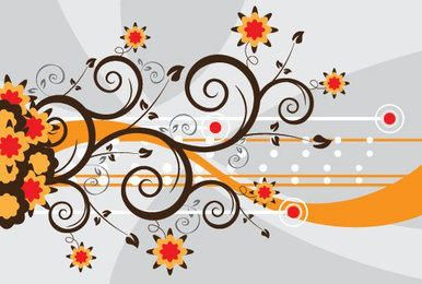 Floral Swirls Colorful Abstract Background