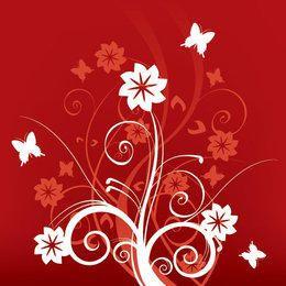 Red White Swirls Butterfly Background