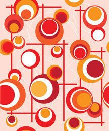 Red Orange Circles Lines Pattern