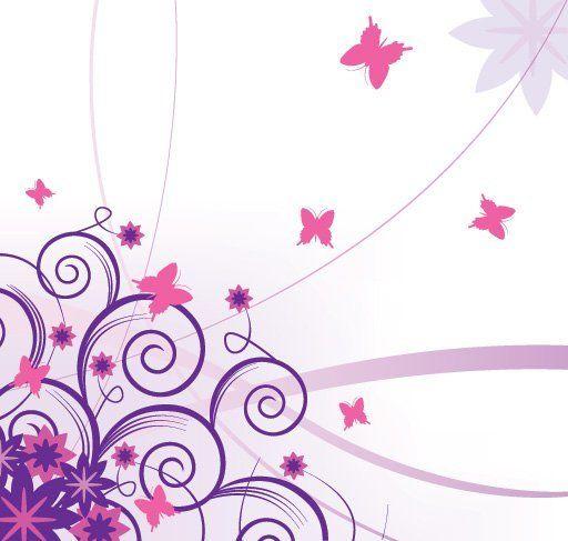 Purple Corner Swirls with Butterflies - Vector download