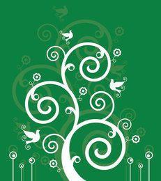 White Swirls Birds Green Background