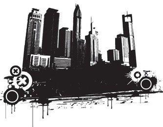 Silueta de paisaje urbano blanco negro sucio