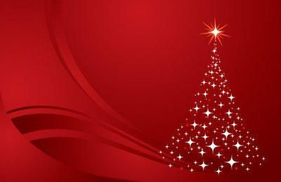 Glittery Christmas Tree Red Background