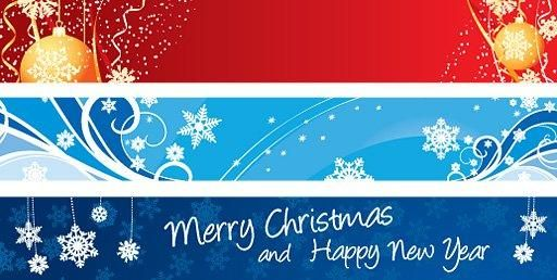 3 Multicolor Christmas Banners