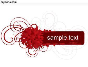 Banner floral de remolinos rojos
