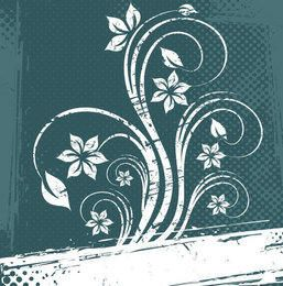 Grungy White Floral Halftone Background