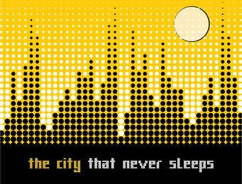 Pixilated Dots Cityscape Background