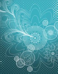 Decorative Linen Floral Blue Background