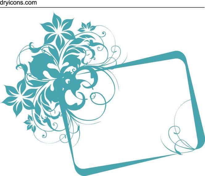 Plaza floral azul bandera del marco - Descargar vector