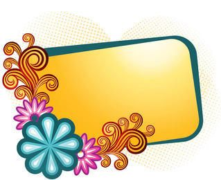 Orange Banner Colorful Swirls Frame