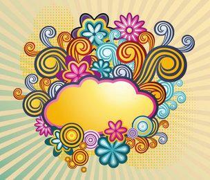 Fondo retro colorido de la nube que remolina