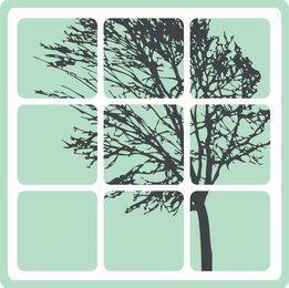 Árbol con marco de ventana