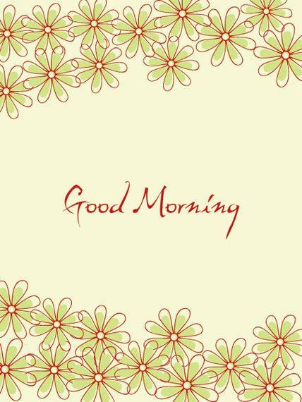 Funky Floral Good Morning Card Vector Download