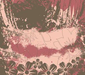 Grungy Vintage Floral Background