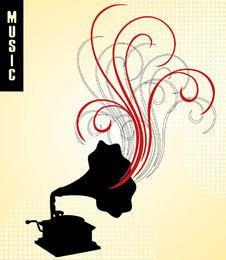 Gramophone Swirls Musical Background