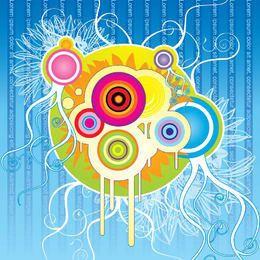 Círculos salpicados coloridos remolinos de fondo