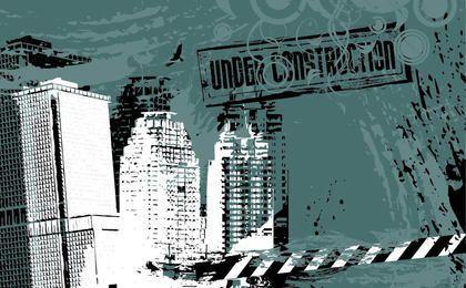 Under Construction Grungy City Background