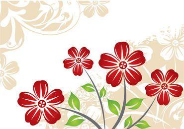 Fondo de flor roja planta vintage
