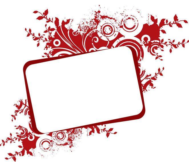 Romántica Banner Marco floral rojo - Descargar vector