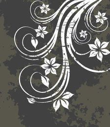 White Swirling Plant Grungy Background