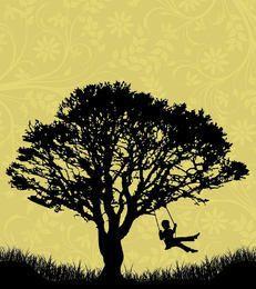 Árbol paisaje niño en cuna