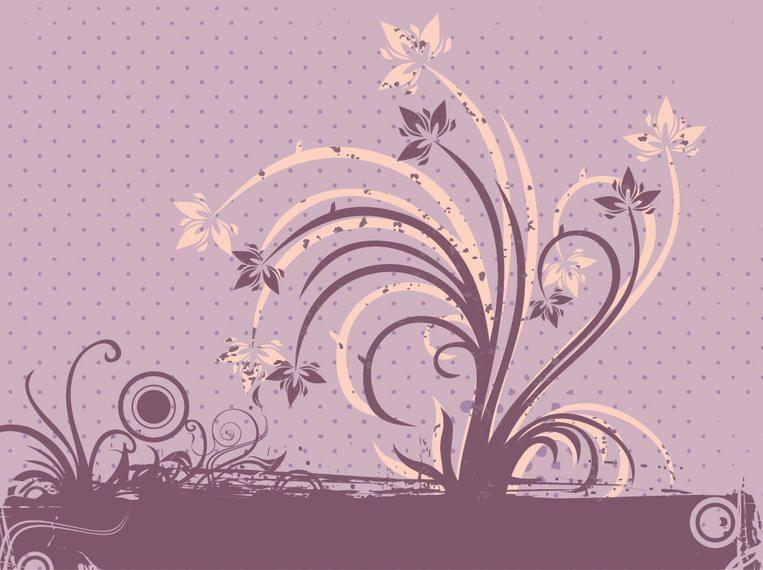 Design floral saudação grungy