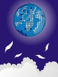 Pixilated Disco Sphere Blue Background