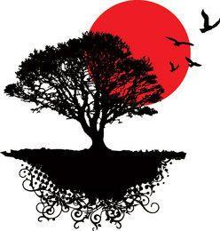 Pássaros da paisagem da árvore do nascer do sol