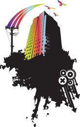 Regenbogen-Wolkenkratzer-Messing-Spritzen