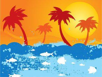 Abstract Sea Beach Sunset