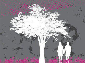 Par, sob, árvore, silueta