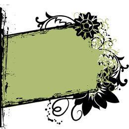 Torn Rectangle Floral Grunge Frame