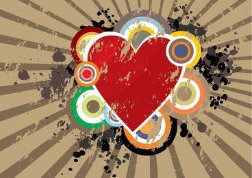 Heart Circles Grunge Starburst