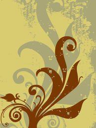 Grunge Plant Swirls Background