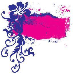 Flower Swirls Grunge Splats Frame