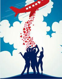 Avión cayendo corazones fondo multitud