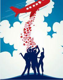 Flugzeug, das Herz-Mengen-Hintergrund fallenläßt