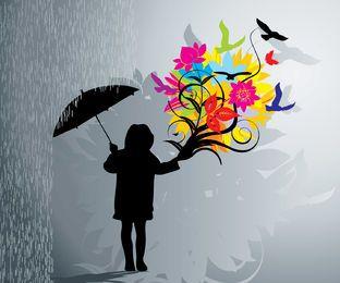 Lluvia floral floreciente de la muchacha