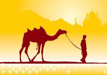 Boy with Camel on Desert