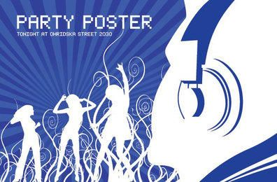 Disco Party Swirls Blue Poster