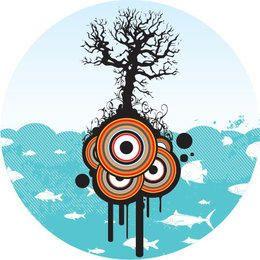 Árbol círculos paisaje en el mar