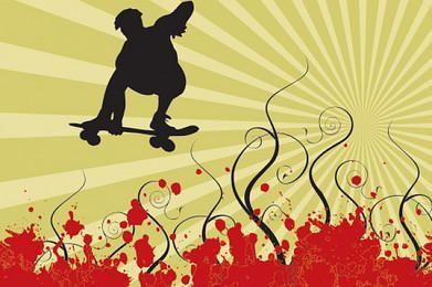 Silhueta de skatista redemoinhos Grunge Background