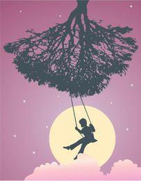 Menina, ligado, berço, árvore, silueta