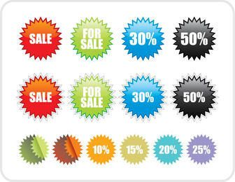Colorful Star Sale Label Pack