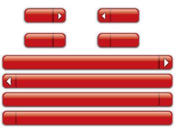 Botões e barras lustrosos vermelhos