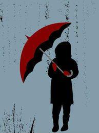 Menina, com, guarda-chuva, em, chuva