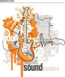 Gitarren-Soundtrack-musikalisches Plakat