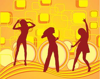 Girls Dancing Squares Background