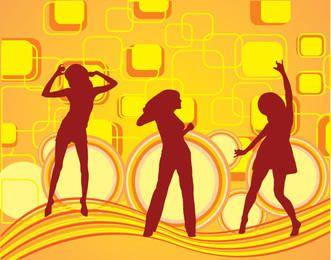 Meninas, dançar, quadrados, fundo